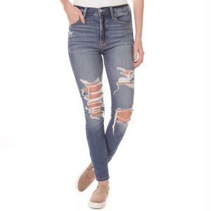 Eunina High-Rise Destroyed Cropped Jeans (Juniors)